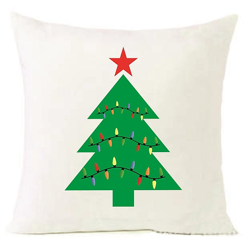 Christmas Tree Lights Cushion Decorative Pillow COTTON OR LINEN