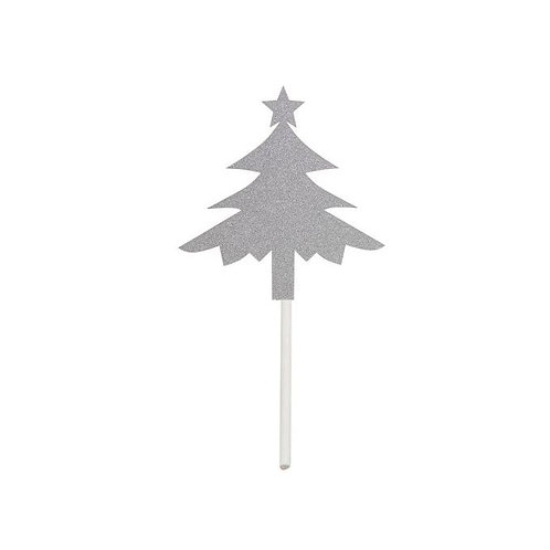 Silver or Gold Christmas Tree Shape Cupcakes Toppers or Wrappers -12 or 24 pcs