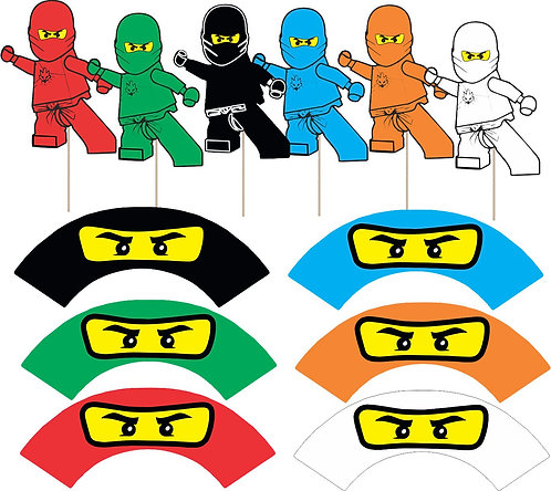 Ninjago Lego Characters Cupcakes Toppers or Wrappers -12 or 24 pcs