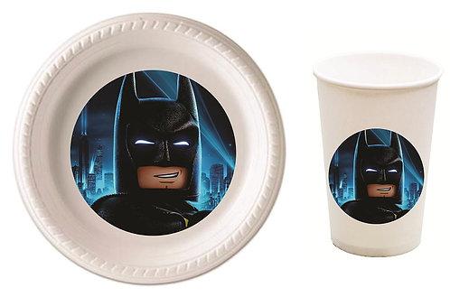 Batman Lego Plastic Plates with Cups - 12 pcs set