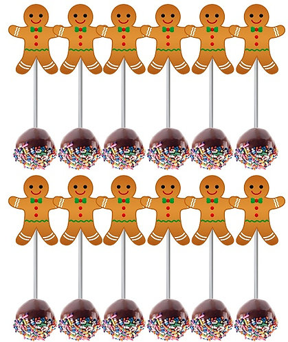 CHRISTMAS Ginger Cookie Cake Pops Toppers - 12 pcs set