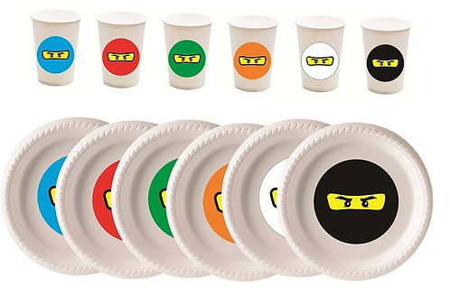 Ninjago Lego Plastic Plates with Cups - 12 pcs set