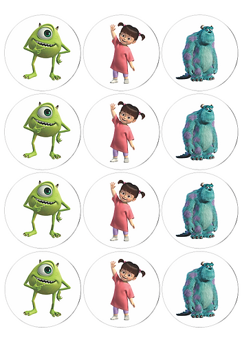 Monsters Inc Characters Round Glossy Stickers - 12 pcs set