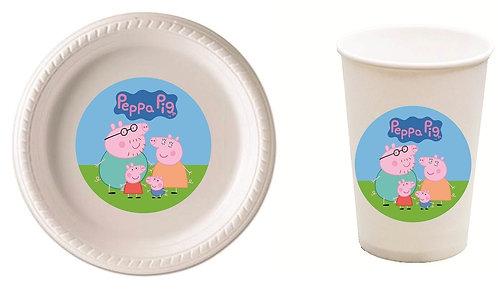 Peppa Pig Plastic Plates with Cups - 12 pcs set
