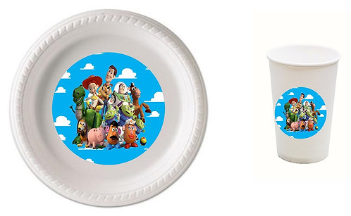 Toy Story Plastic Plates with Cups - 12 pcs set