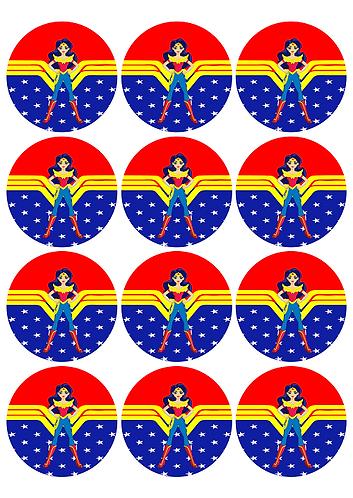 Wonder Woman DC Girls Round Glossy Stickers - 12 pcs set