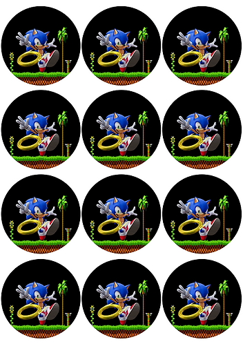 Sonic Game Round Glossy Stickers - 12 pcs set
