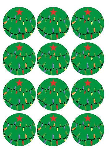 Christmas Tree Round Glossy Stickers - 12 pcs set