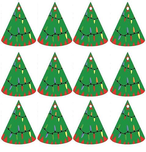 Christmas Tree Shape Gifts Tags - 12 pcs set