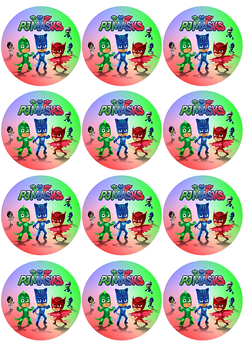 PJ Masks Round Glossy Stickers - 12 pcs set