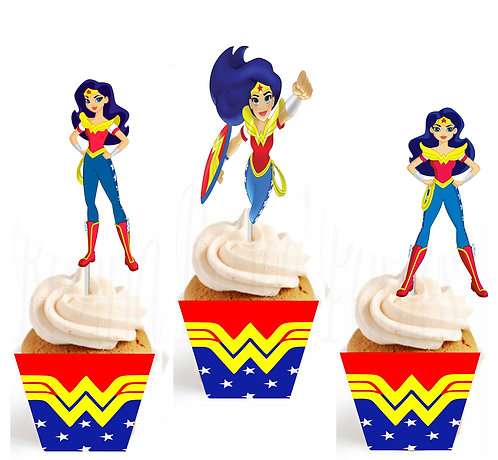 Wonder Woman DC Girls Characters Cupcakes Toppers or Wrappers - 12 pcs or 24 pcs