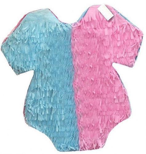Onesie Pink Blue Baby Shower Gender Reveal Party Pull Strings Pinata - 40cm