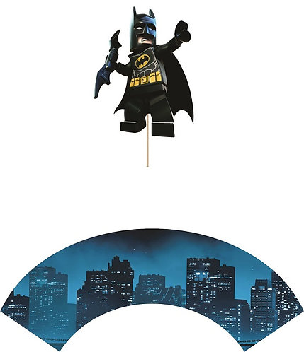 Batman Lego Cupcakes Toppers or Wrappers -12 or 24 pcs