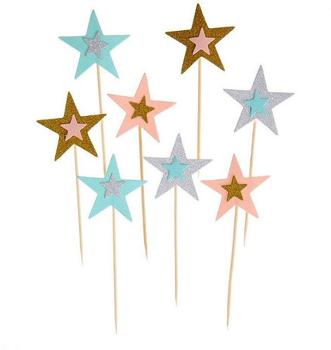 Pink Blue Gold Silver Stars Cupcakes Toppers or Wrappers -12 or 24 pcs