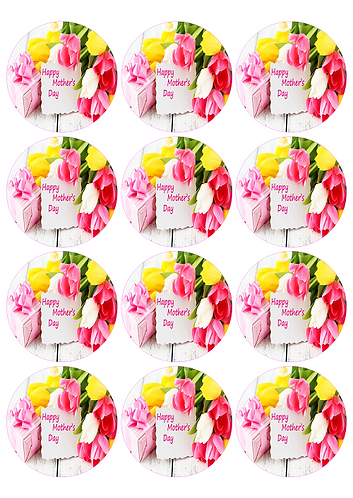Mothers Day Flowers Round Glossy Stickers - 12 pcs set