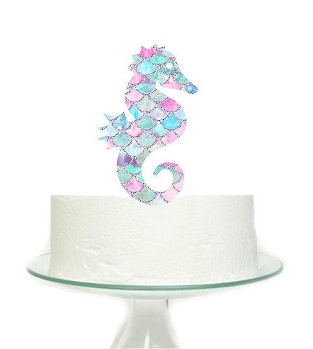 Mermaid Sea Horse Big Topper for Cake - 1 pcs set