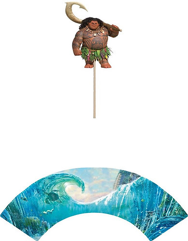 Moana Maui Cupcakes Toppers or Wrappers -12 or 24 pcs