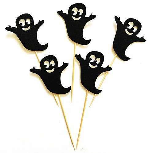 Halloween Ghost Cupcakes Toppers or Wrappers -12 or 24 pcs