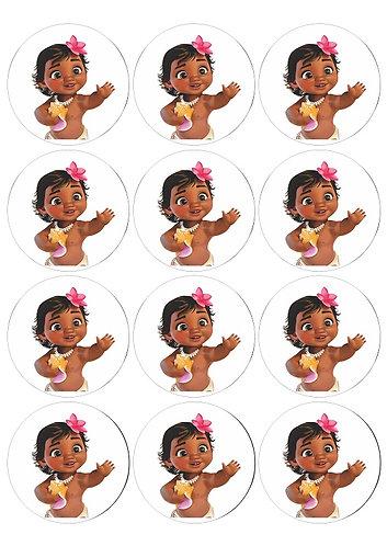 Moana Baby Character Round Glossy Stickers - 12 pcs set