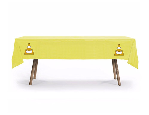 Under Construction Plastic Table Cover with Stickers - 140 cm x 275cm