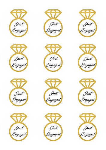Just Engaged Ring Wedding Round Glossy Stickers - 12 pcs set