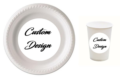 CUSTOM DESIGN Plastic Plates or Cups - 12pcs sets