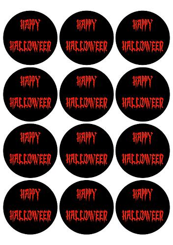 Halloween Round Glossy Stickers - 12 pcs set
