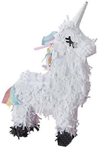 White Unicorn Birthday Party Pull Strings Pinata - 40cm