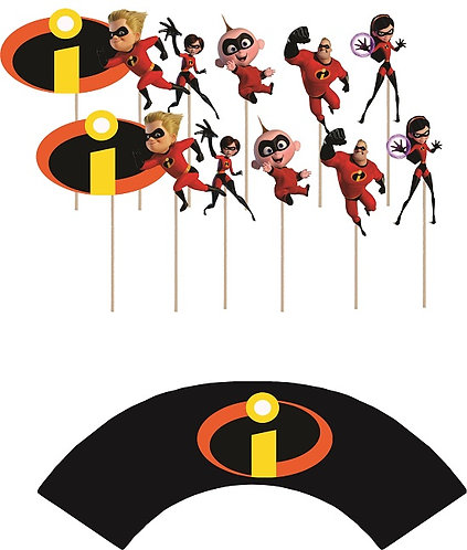 Incredibles Characters Cupcakes Toppers or Wrappers -12 or 24 pcs