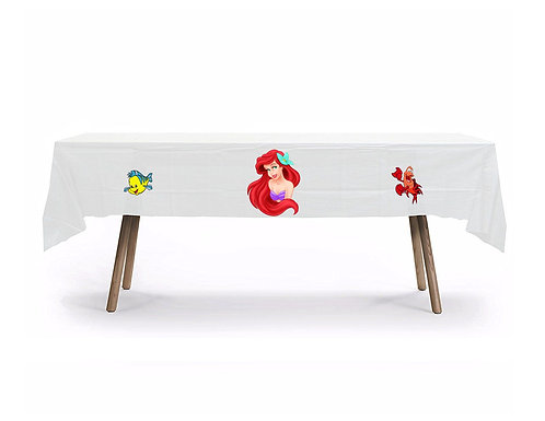 Princess Ariel Little Mermaid Plastic Table Cover with Stickers - 140 cm x 275cm