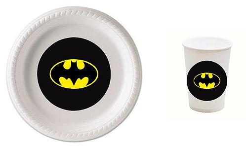 Batman Logo Plastic Plates with Cups - 12 pcs set