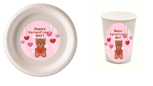 Valentines Day Teddy Bear Plastic Plates with Cups - 12 pcs set