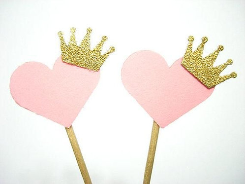 Pink Heart with Gold Crown Valentines Cupcakes Toppers or Wrappers -12 or 24 pcs