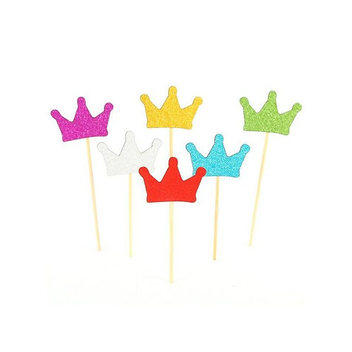 Gold Silver Pink Blue Red Green Crown Cupcakes Toppers or Wrappers - 12 or 24pcs