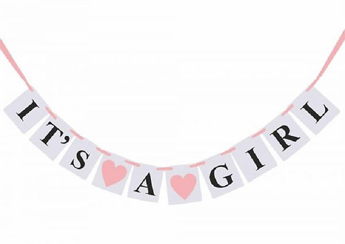 ITS A GIRL Baby Shower Gender Reveal Banner