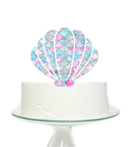 Mermaid Shell Big Topper for Cake - 1 pcs set