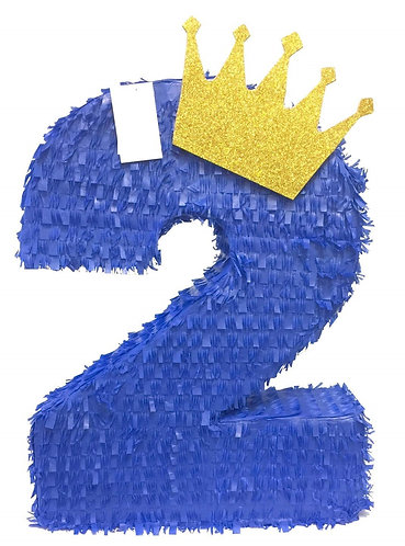 ANY NUMBER Prince Crown Birthday Party Pull Strings Pinata - 40cm