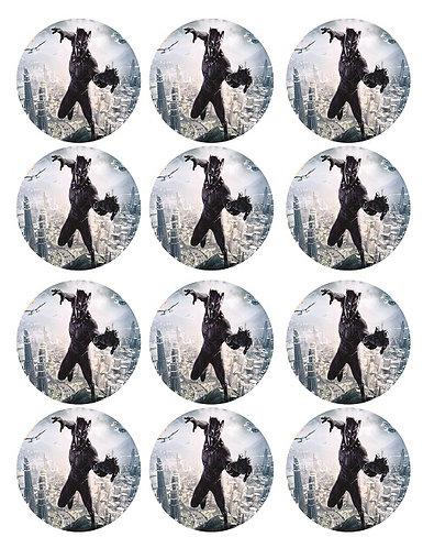 Black Panther Round Glossy Stickers - 12 pcs set