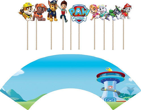 Paw Patrol Characters Cupcakes Toppers or Wrappers -12 or 24 pcs