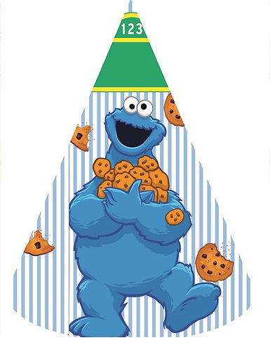Sesame Street Cookie Monster Party Hats - 6pcs