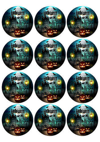 Halloween Castle Round Glossy Stickers - 12 pcs set