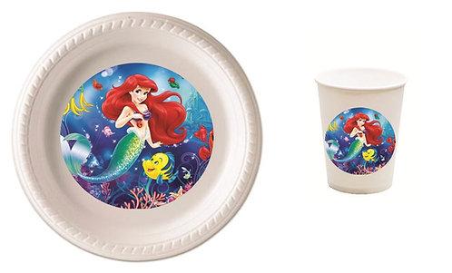 Princess Ariel Little Mermaid Plastic Plates with Cups - 12 pcs set