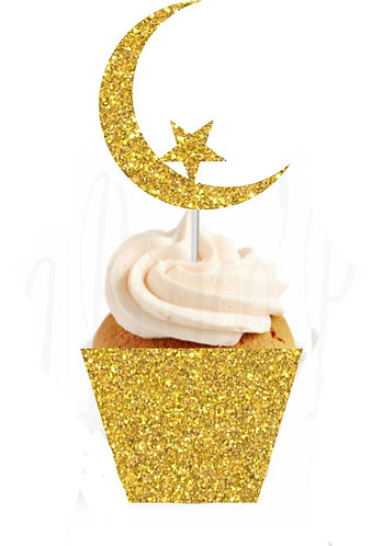 Gold or Silver Ramadan EID Moon Star Cupcakes Toppers or Wrappers -12 or 24pcs