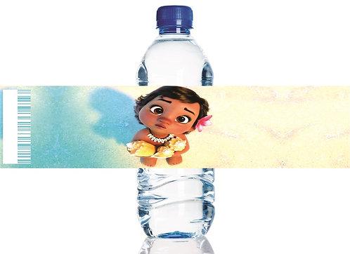 Moana Baby Water Bottles Stickers - 6 pcs set