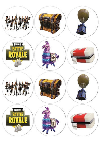 Fortnite Characters Round Glossy Stickers - 12 pcs set