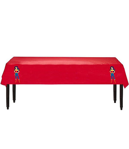 Wonder Woman DC Girls Plastic Table Cover with Stickers - 140 cm x 275cm