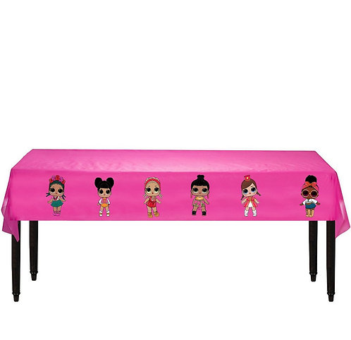 LOL Surprise Dolls Plastic Table Cover with Stickers - 140 cm x 275cm