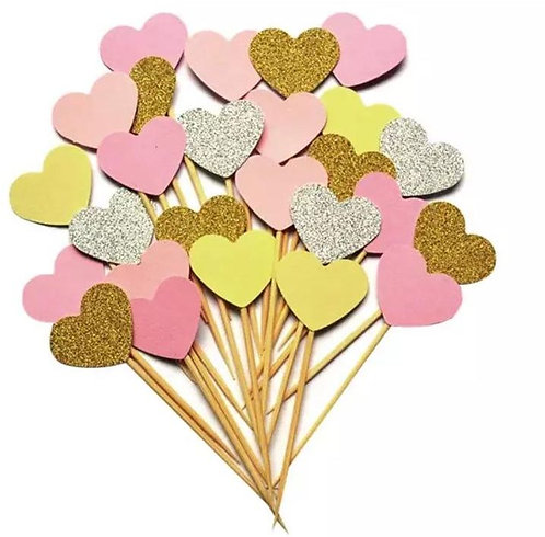 Pink Silver Gold Hearts Valentines Cupcakes Toppers or Wrappers -12 or 24pcs
