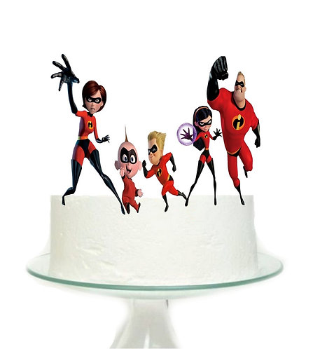 Incredibles Characters Superheroes Big Topper for Cake - 5pcs set