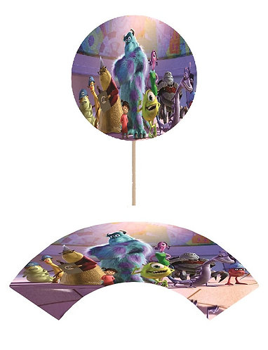 Monsters Inc Round Cupcakes Toppers or Wrappers -12 or 24 pcs